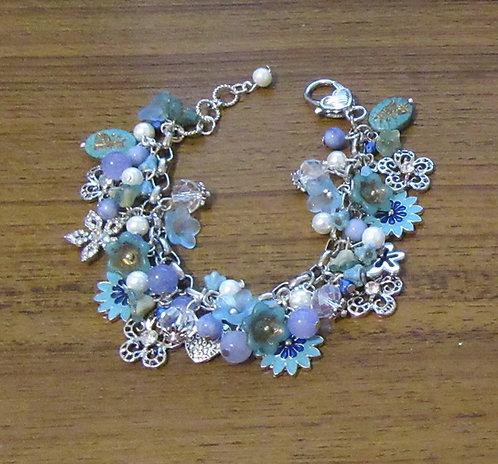 Charm Bracelets: South Seas Pearls, Aquamarine, Crystals, Rhinestone Beads