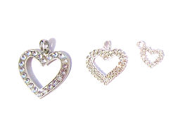 Rhinestone Heart Charms & Pendant 002