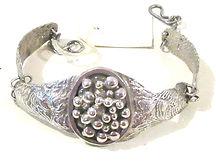 Stirling Silver Hand Beaten Bracelet   1