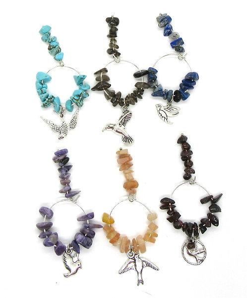 Wine Glass Charms Gemstone - Birds Range Set of 6