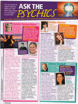 Natalie That's Life Magazine ask the Psychics