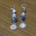 Earrings Gemstone Sodalite Quartz Shell