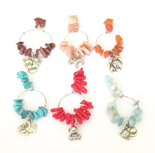Wine Glass Charms Gemstone - Animals Range Set of 6