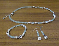 Necklace Bracelet & Earrings Set Frosted