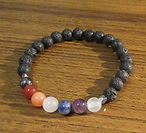Chakra gemstones with Lava Stone Stretch
