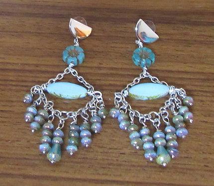 Earrings Chandelier Dangle Czech Beads