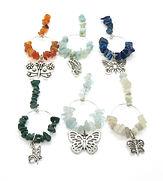 Wine Glass Charms Gemstone Butterflies 0