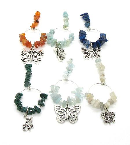 Wine Glass Charms Gemstone - Butterfly Range Set of 6