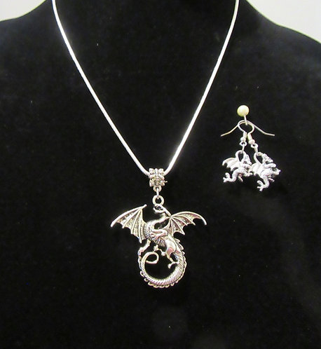 Necklace & Earrings Set with S/S Chain or Faux Leather- Fantasy Fairytale Jewel