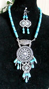 Turquoise & Crystal Dream Catcher Neckla