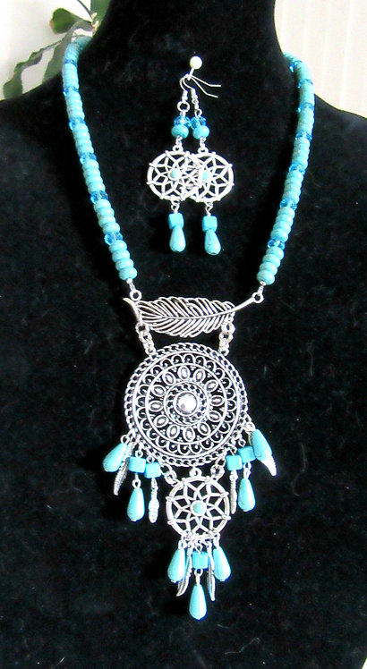Necklace & Earrings Set Gemstone & Imperial Crystal DreamCatcher