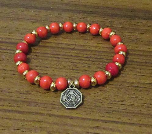 Bracelets Wooden & Metal Beads Ying Yang Feng Shui Bagua  - Stretch