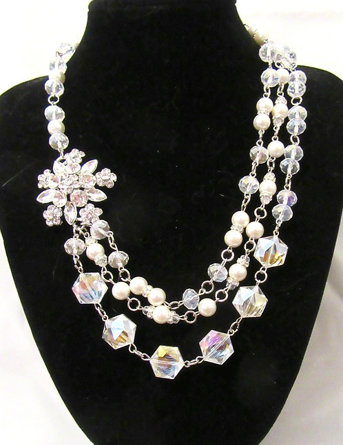 NECKLACES Vintage: South Seas Pearls & Imperial Crystals with Rhinestone Pendant