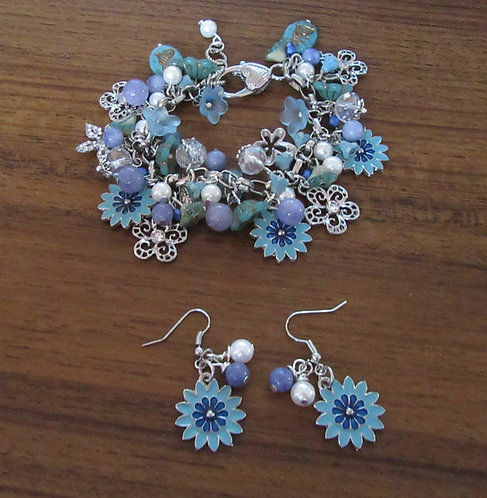 Charm Bracelet & Earrings: South Seas Pearls, Aquamarine, Crystals
