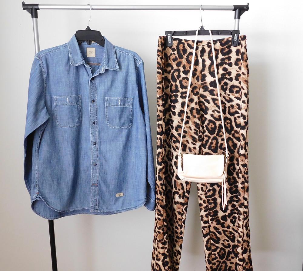 Men's denim button down, leopard pants, beige cross body
