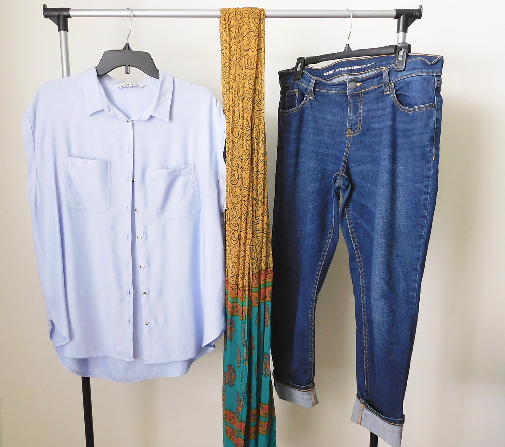 Chambray shirt, boyfriend jeans, and head wrap scarf