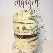 Semi Naked Double Barrel Engagement Cake