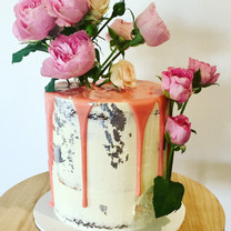 Florals and drip with silver leaf
