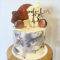 "8"" rose gold grey birthday cake"