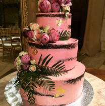 3 Tier Semi Naked Pink Wedding Cake