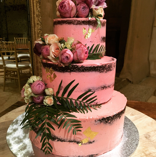 3 Tier Semi Naked Pink Wedding Cake
