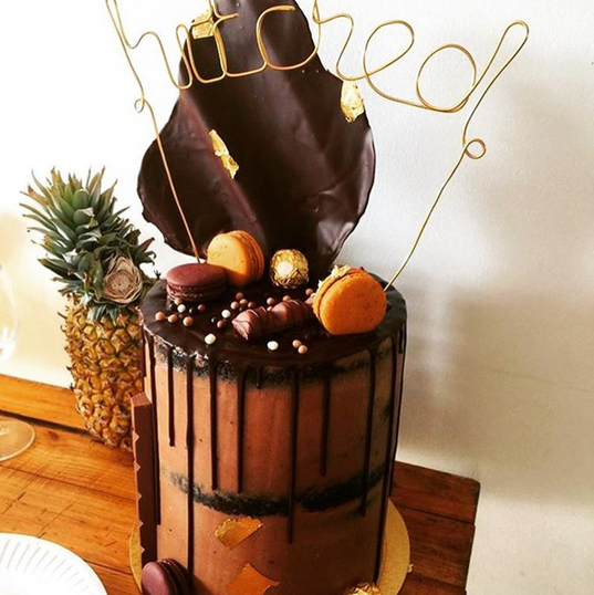 "Chocolate & Nutella Drip Wedding Cake - 8"" Double Barrel"