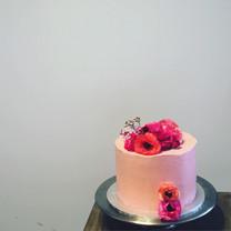 Raspberry Cake with Fresh Flowers