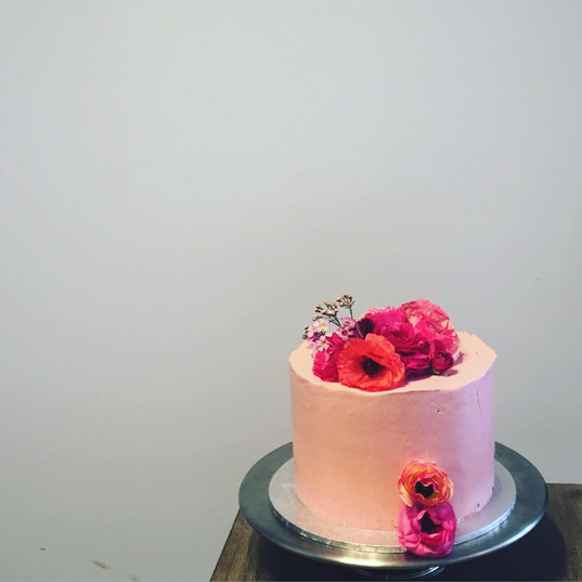 Raspberry Cake with Fresh Flowers