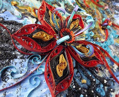 Fire flower paper quilling art