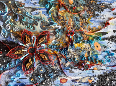 Mixed media art combined withquilling