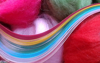 Paper quilling strips and wool roving