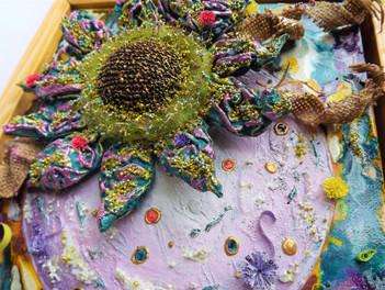 Twilight flower mixed media art