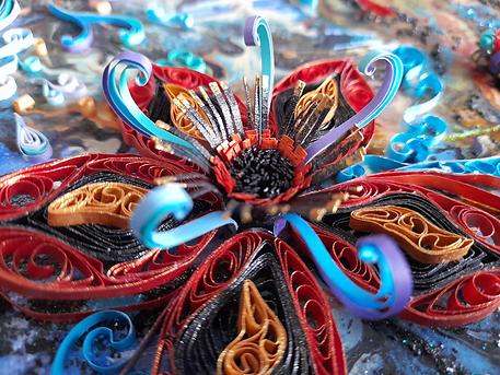 Metallic paper quilled 3d flower