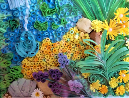 Paper quilled flowers, plants and water