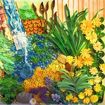 Paper quilled garden scene