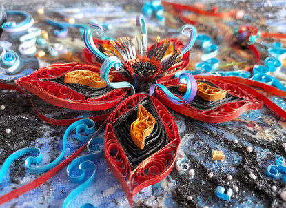 Metallic quilled fantasy flower