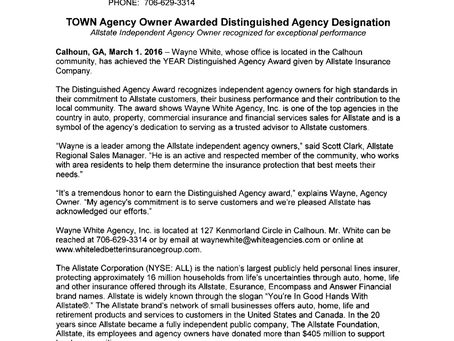 Allstate Independent Agency Owner recognized for exceptional performance