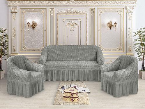 Набор жатка-стрейч с оборкой на 3-х местные диван и 2 кресла цвет:Графит