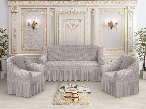 Набор жатка-стрейч с оборкой на 3-х местные диван и 2 кресла цвет:Серый