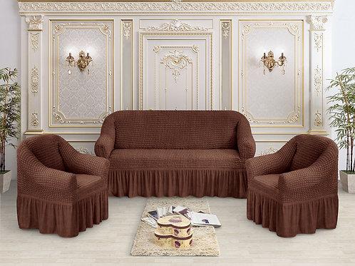 Набор жатка-стрейч с оборкой на 3-х местные диван и 2 кресла цвет:Шоколадный