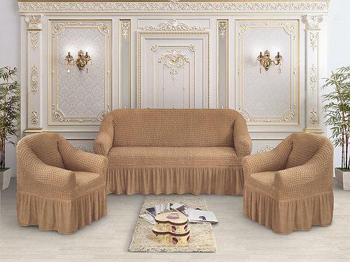 Набор жатка-стрейч с оборкой на 3-х местные диван и 2 кресла цвет:Коричневый