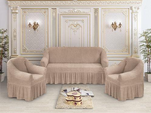 Набор жатка-стрейч с оборкой на 3-х местные диван и 2 кресла цвет:Капучино