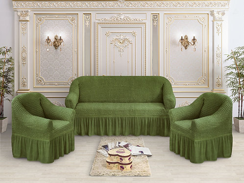 Набор жатка-стрейч с оборкой на 3-х местные диван и 2 кресла цвет:Оливковый