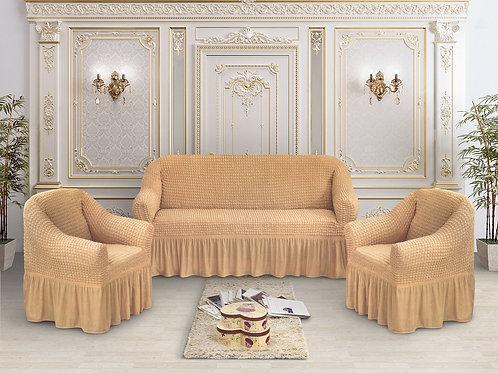 Набор жатка-стрейч с оборкой на 3-х местные диван и 2 кресла цвет:Медовый