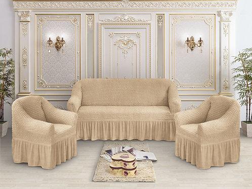 Набор жатка-стрейч с оборкой на 3-х местные диван и 2 кресла цвет:Молочный