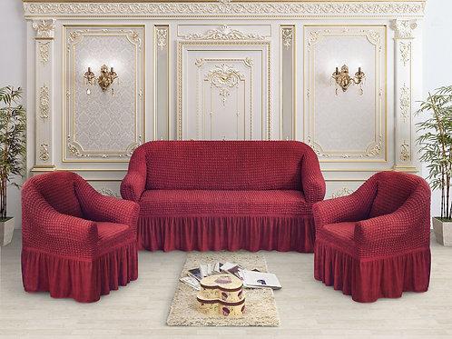 Набор жатка-стрейч с оборкой на 3-х местные диван и 2 кресла цвет: Бордовый