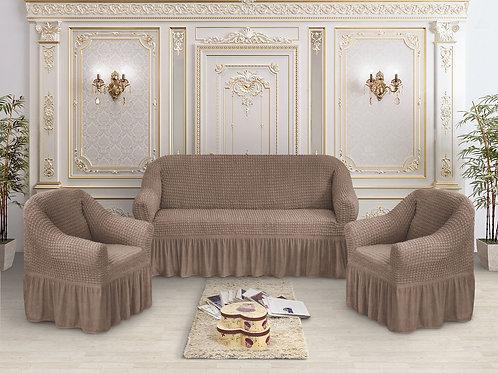 Набор жатка-стрейч с оборкой на 3-х местные диван и 2 кресла цвет:Кофе