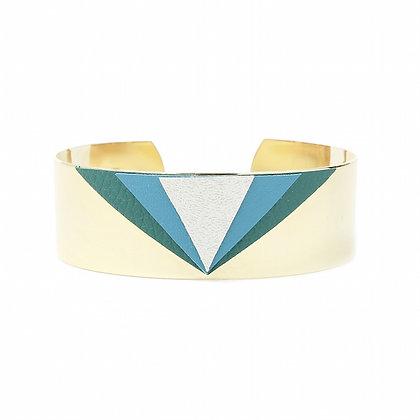 Bracelet Triangles Cuir Vert