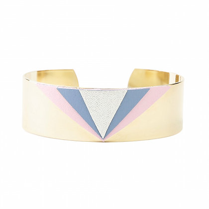 Bracelet Triangles Cuir Rose&Bleu