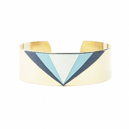 Bracelet Triangles Cuir Bleu